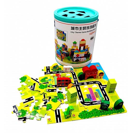 Wooden Blocks 182 Pieces - City Blocks