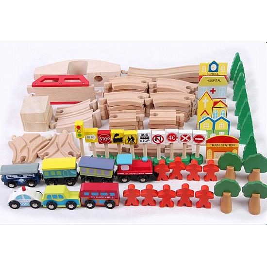 Wooden Table Train Set 90 pcs