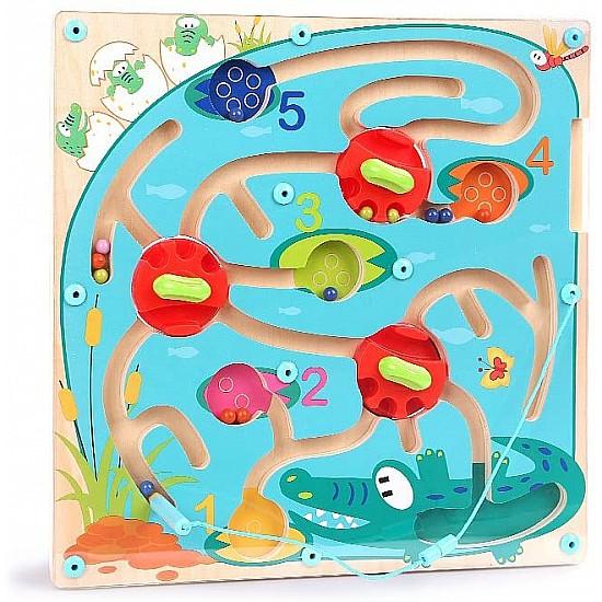 Magnetic Crocodile Maze Puzzle Wooden